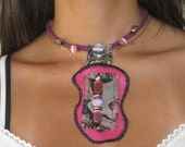 Israel upcycle art - Eco Silver, Pink, Black, Purple Unique CHOKER NECKLACE made of various Textile / fabrics & Beads decorations