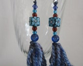 A unique, Originally Designed Fun / Trendy BEADS & WOOL EARRINGS in shades of Blue and Dark Red