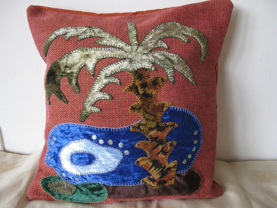 "Eco Art Israel -  ""Sea of the Galilee"" palm tree applique & hand - embroidered decorative pillow - cover, Velvet plus Upholstery Fabrics."