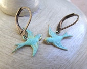 Reduced by 30%......Little Vintage Style Aqua Blue Bird Earrings