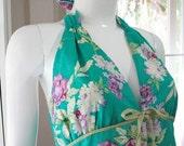 Sun Dance Summer Halter Dress - Green Flower
