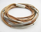 10  circles original color round leather bracelets threaded with silver plated tubes s46