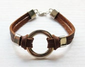 genuine brown old leather bracelet with metal charms s103