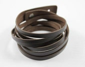 Deep brown genuine leather wrap bracelet with metal joint T31