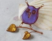 Animal brooch - Purple owl with branch