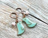 Mint bird earrings