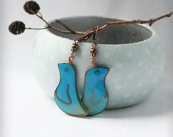 Turquoise birds earrings