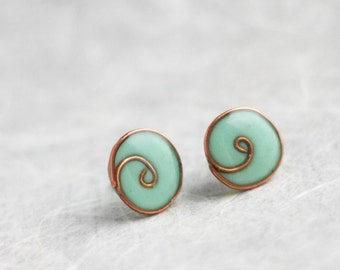 Post earrings - Mint blue