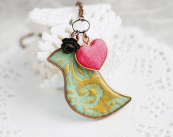 Romantic necklace- Mint and bronze bird with red heart and black rose