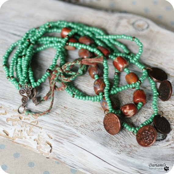 Boho chic necklace - copper and green -OOAK