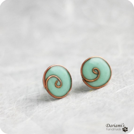 Post earrings - Mint blue