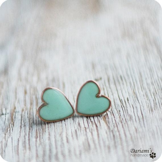 Earring Studs - Mint Hearts - Heart Earrings