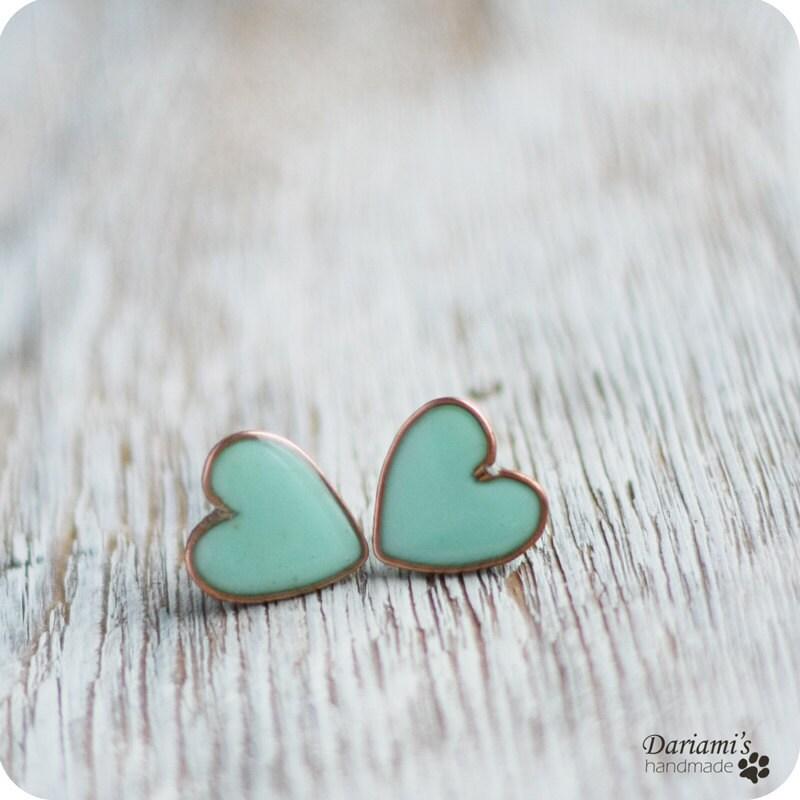 Heart Earrings Studs Earring Studs Mint Hearts
