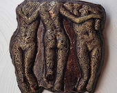 Three Graces Grown Up Stone Art Sculpture, Antiquity Sculpture, Nude Wall Art, Cast Stone Wall Decor, Tattoo Female Nude