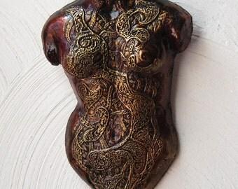 Venus Sculpture Gift for Her, Female Torso Wall Plaque, Nude Sculpture, Illustrated Venus Stone Art