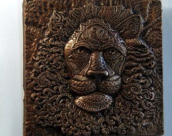 Lion Art Wall Plaque, Bronze Lion Sculpture, Cast Stone Garden Decor, Lion Home Decor, Lion Garden Gift for Him