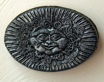 Steampunk Sun Face Stone Art, Sun Home Decor, Steampunk Wall Art, Silver Sun Wall Plaque, Victorian Sun Sculpture Garden Art