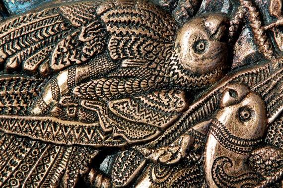 Parrot Art, Bird Lover Gift, Bird Sculpture, Audobon Wall Plaque, Bird Art, Garden Stone Art, Outdoor Wall Art