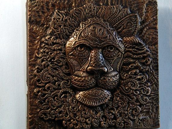 lion art wall plaque bronze lion sculpture cast stone garden. Black Bedroom Furniture Sets. Home Design Ideas