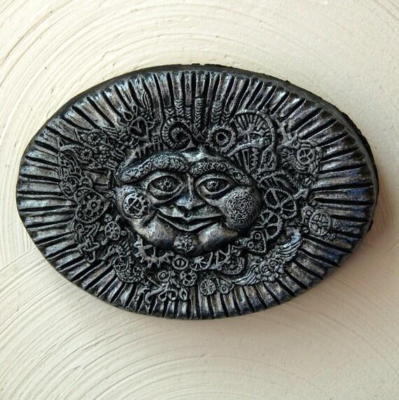 Steampunk Sun Face Stone Art, Sun Home Decor, Steampunk Wall Art, Silver Sun Wall Plaque, Victorian Sun Sculpture Garden Art