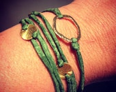 Green Silk and Brushed Gold Wrap Bracelet
