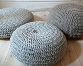 Floor Cushion Crochet - silver gray