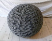 Pouf Crochet big - from recycled t-shirt yarn GRAY