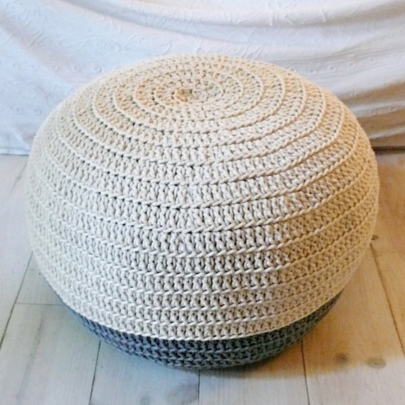 Pouf Crochet medium - ecru and gray
