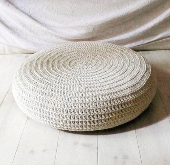Crochet stool cover - ecru