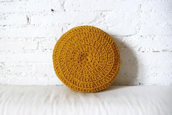 Round Pillow Crochet- mustard