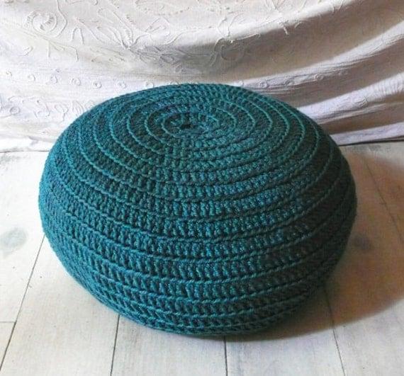 Floor Cushion Crochet  - peacock