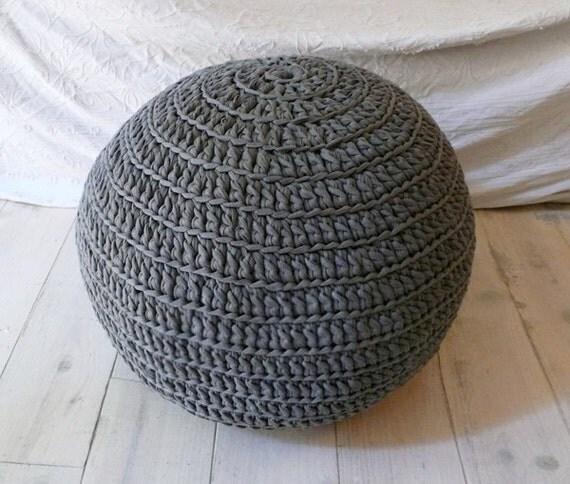 Pouf Crochet big - from recycled t-shirt yarn GRAY
