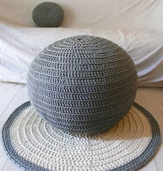Pouf Crochet  big - three shades of gray