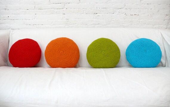 Crochet Round Pillow - orange