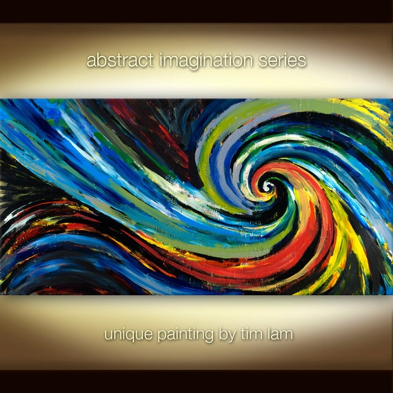 Abstract Spiral, Contemporary Huge Surreal Decorative original painting 48x24 by Tim Lam SALE