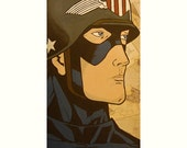 Reserved - Vintage Look Captain America - Acrylic on Canvas