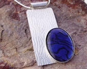 Blue purple paua shell and sterling silver pendant and chain