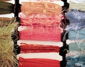 Ribbon and fibers for scrapbooking, card making, or gift-wrap