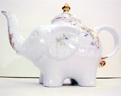 RESERVED FOR LENNON 27 Includes insurance in shipping cost. elephant teapot with blue and white colored roses