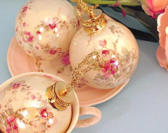 Set of three Christmas ornaments Belle Francais blossom design