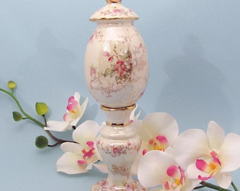Egg with Stand with Belle Francais pink blossom design