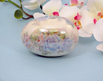 Lovely blue rose Easter or spring collectible egg