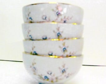 Asian style tea or candle cups and tray with blue floral blossoms