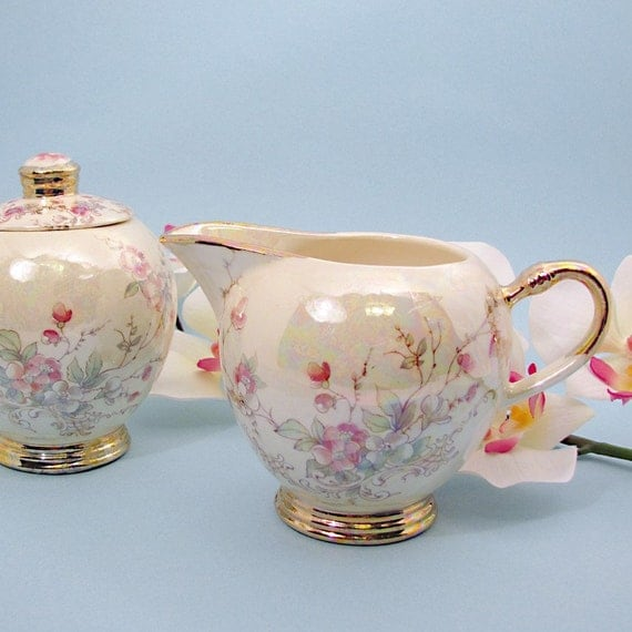 Sugar and creamer with Belle Francais pink blossom design and luster finish with 22 kt gold