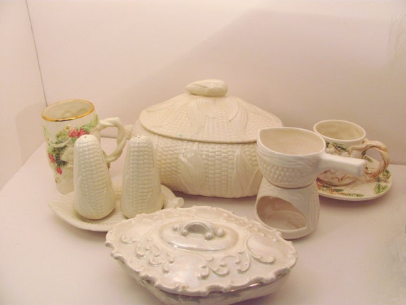 SALE Tureen, salt and pepper shakers, butter warmer, cup and saucer...