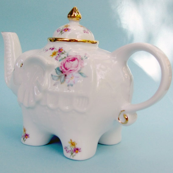 Shabby chic cottage elephant teapot with pink, yellow, blue, and lavender flowers and 22 kt gold