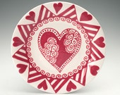 Bohemian Heart Plate Red and White Valentine Heart Dinnerware