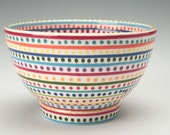Rice Bowl Hand Painted Stripes and Dots Dinnerware