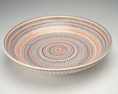 Special Order - Large Shallow Stripes and Dots Bowl Hand Painted Serving Dinnerware