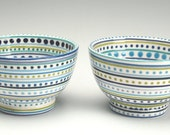 Rice Bowl Hand Painted Stripes and Dots Dinnerware Blues and Greens